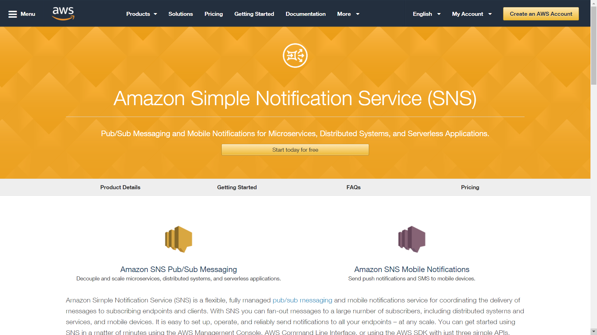 Amazon simple notification service